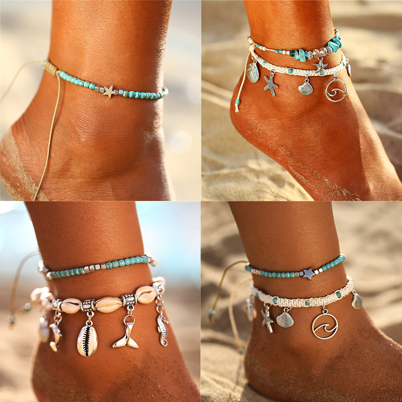 IF ME Bohemian Star Beads Stone Anklets for Women Vintage woven Rope Pendant Bracelet on Leg Anklet Beach Ankle Jewelry New Gift