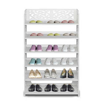 Shoe Rack Wood-plastic Board Six Tiers Carved Shoe Rack Storage Cabinet Living Room Furniture White B - DISCOUNT ITEM  30 OFF All Category