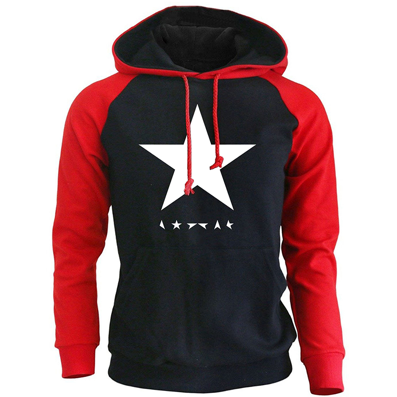 Fashion Hoodie Men 2019 Autumn Fleece Winter Raglan Men's Sweatshirts David Bowie Heroes Black Star Logo Print Harajuku Pullover