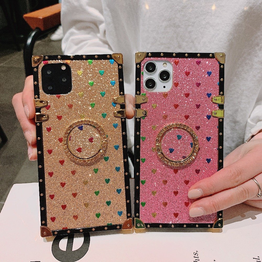 Cases For iPhone 11 Pro Max Xr Xs Max Coque Square Diamond Stand Love Heart Bling Sequins Case For iPhone X 6 6S 7 8 Plus Cover (2)