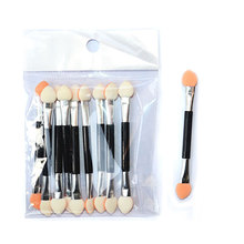 10PCS Eyeshadow Applicator Sponge Double Ended Make up Supplies Portable Eye Shadow Brushes Nail Mirror Powder Brush