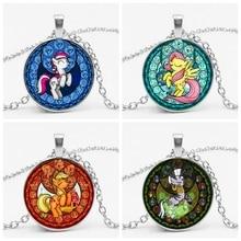 2019 My Little Horse Baoli Poni Princess Necklace Rainbow Art Photo Glass Dome Girls Children Cartoon Jewelry