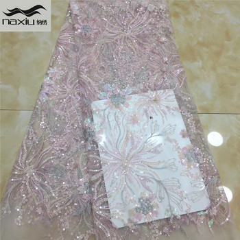 Madison African Tulle Lace Fabric 2020 High Quality Nigerian Net Lace Fabrics French Lace With Sequins For Wedding Dress