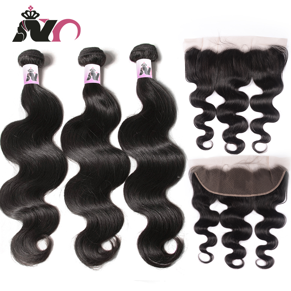 NY Hair Body Wave Bundles With Frontal Brazilian Hair Weave 100% Human Non-Remy Hair 3 Bundles And 13*4 Closure Hair Extension