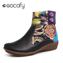 SOCOFY Botas Mujer Boots Painted Rose Retro Genuine Leather Cozy Black Flat Ankl