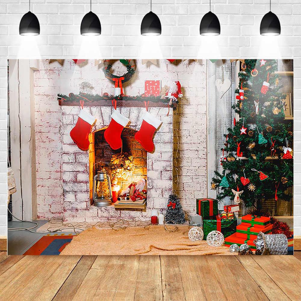 Fotografia świąteczna tło kominek choinka czerwona skarpeta tło Photo Studio prezenty dla dzieci rodzina Photocall Vide rekwizyty