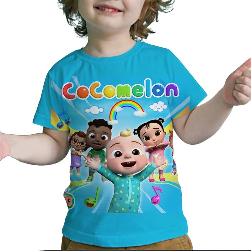 Детские футболки Cocomelon с 3D принтом, футболки для мальчиков и девочек, футболки, топы, уличная одежда в стиле Харадзюку, летние детские футбол...