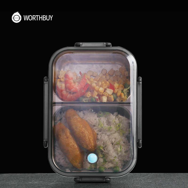 WORTHBUY Nueva lonchera japonesa para la escuela de niños, lonchera Bento de acero inoxidable 304, caja de comida a prueba de fugas para niños