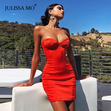 JULISSA MO Rode Strapless Zomer Backless Jurk Vrouwen Sexy Off Shoulder Bodycon Party Jurken Dames Mouwloos Party Vestidos(China)