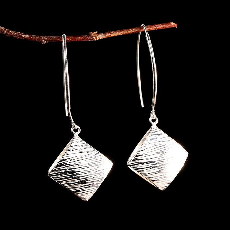 V. YA S925 argent losange boucles d'oreilles Thai argent Vintage boucles d'oreilles goutte pour les femmes Simple bijoux dames cadeau Brincos
