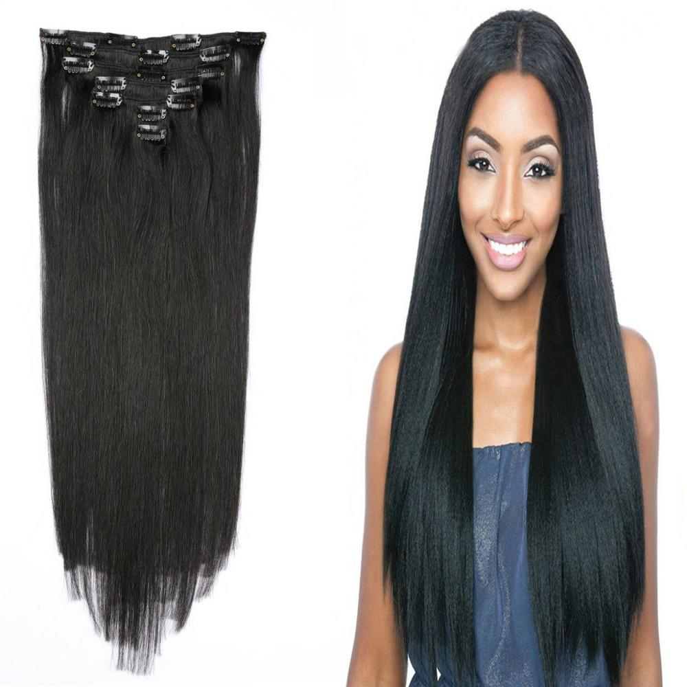 """12""""-26""""Hair Brazilian Remy Straight Hair Clip In Human Hair Extensions Natural Color 7 Pieces/Set Full Head Sets Ship Free"""