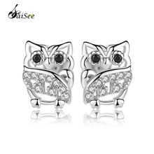 SaiSee 50% Off 925 Sterling Silver Animal Owl CZ Zircon Stud Earrings for Women Girls Gift Fashion Jewelry E-282