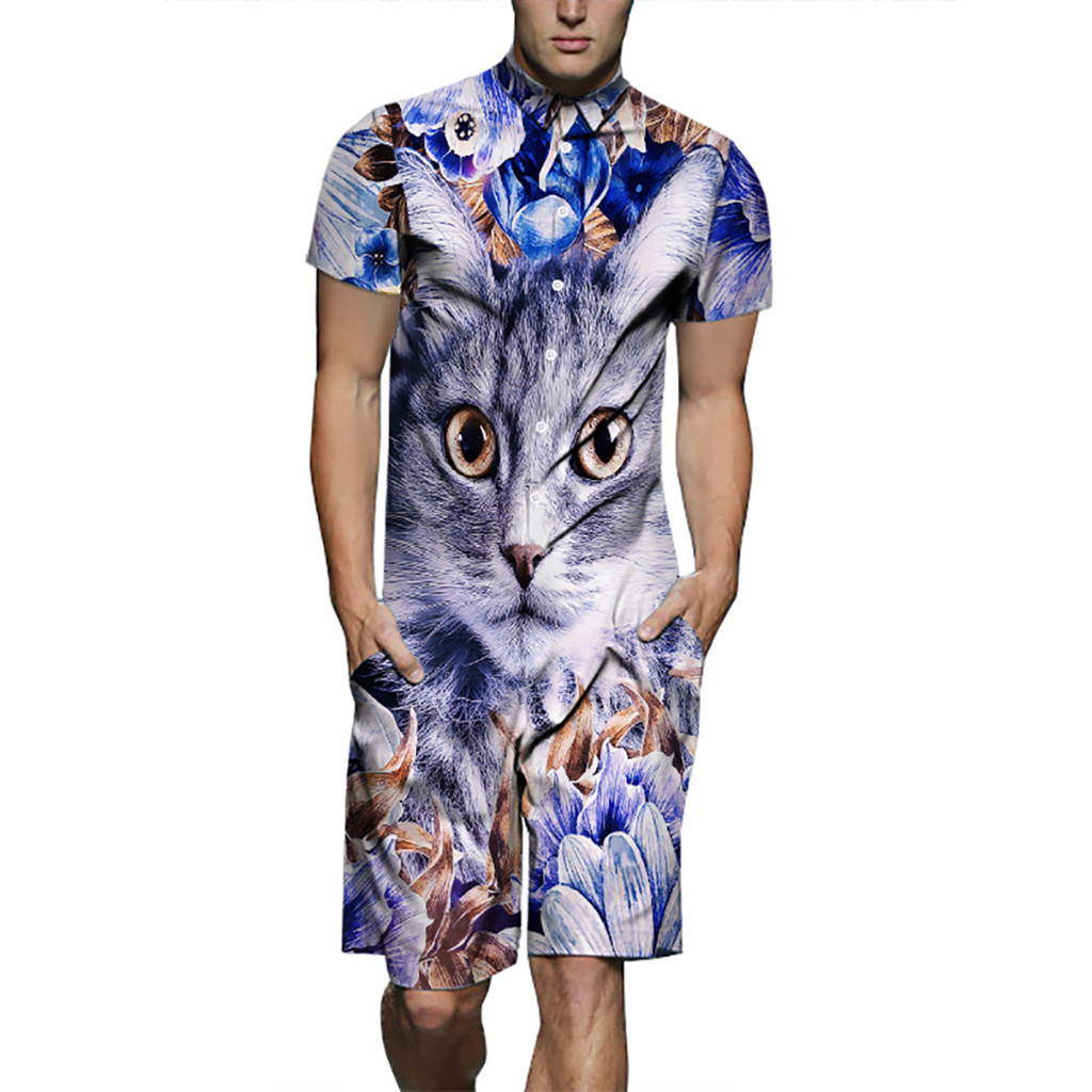 Men's Summer Casual Short Sleeve Fitted Suit Printed Cat 2020 Summer Men's Polyester 2 Piece Short Camisa Hawaiana Hombre 1.17