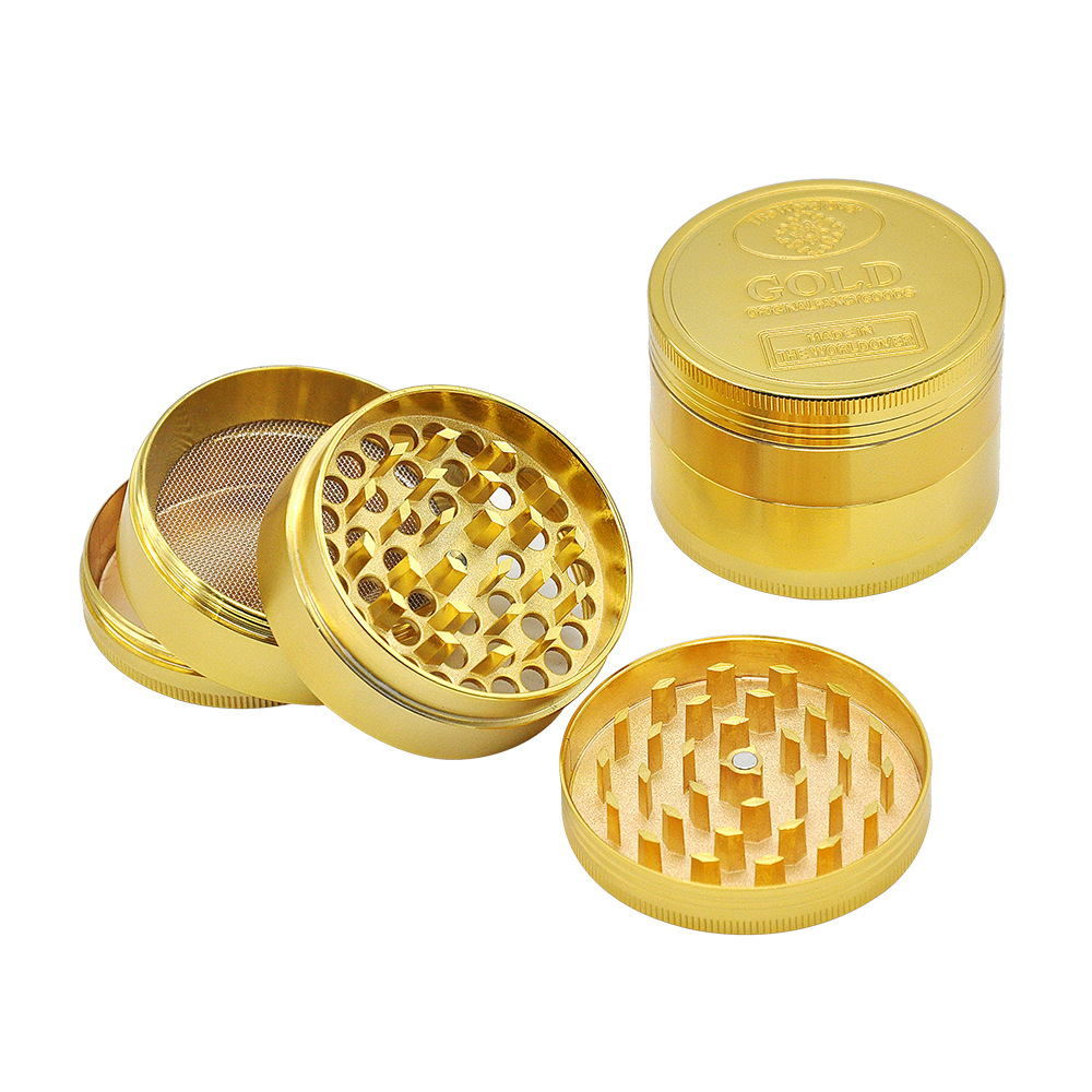2 Size Available 4 Layers Dia.36mm/43mm Gold Zinc Alloy Metal Herb Grinder spice/tobacco Crusher Tobacco Spice Hand Muller 3