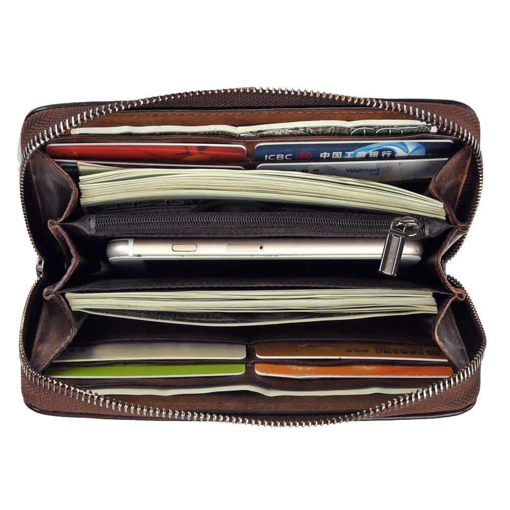 ללכת-מזל מותג ציפורני Wristlet עור אמיתי ארנק נשים טלפון סלולרי ארנק גברים של כרטיס כרטיס מקרה רוכסן WalletsVintage