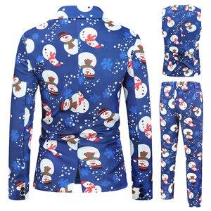 Image 2 - Moda uomo Casual nuovo pupazzo di neve stampa natalizia manica lunga festa di nozze Streetwear moda Casual stampa 3 pezzi abito