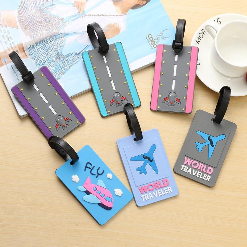 Travel Accessories Silica Gel Luggage Tag Fashion Cartoon Airplane Suitcase ID Address Holder Baggage Boarding Tag Portable Labe