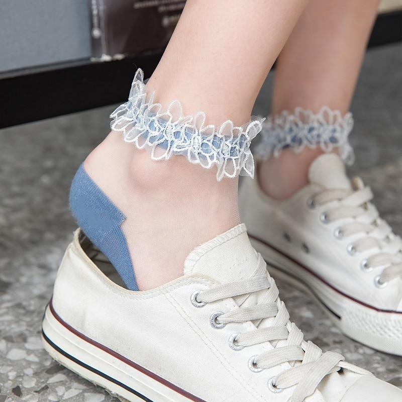 Flowers Lace Ladies Sheer Socks Transparent Thin Crystal Silk Elastic Cotton Sole Elegant Women Ankle Socks New Girls Hosiery