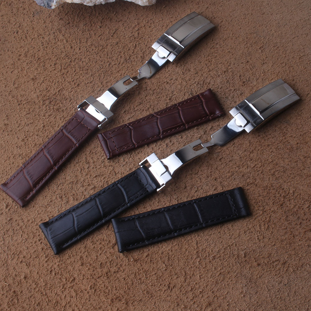 Saatler'ten Saat kayışları'de Özel Watchband hakiki deri siyah kahverengi katlanır toka paslanmaz çelik gümüş dağıtım toka 20mm saat kayışı kayış title=