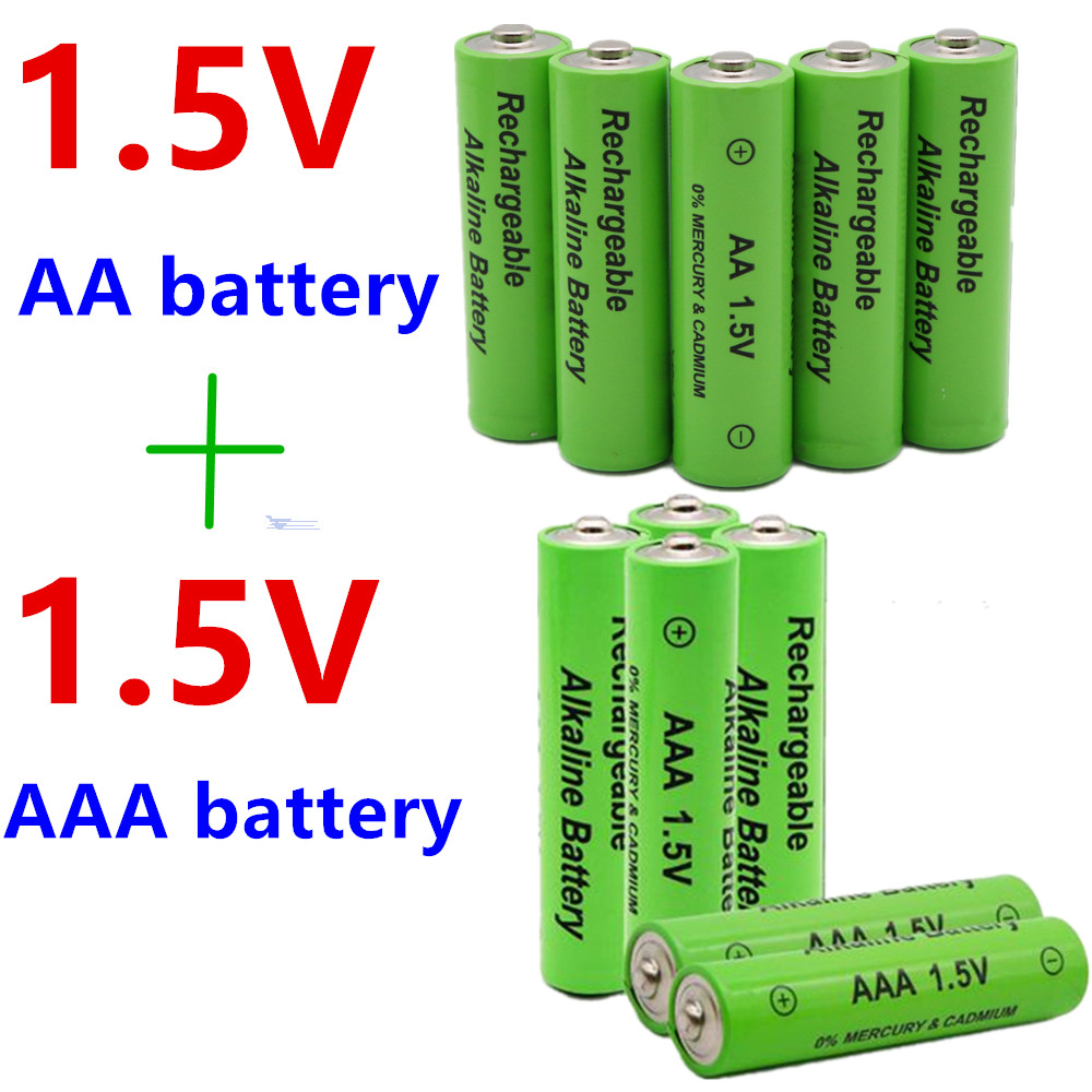 AA + AAA 100% New 1.5V AA AAA Alkaline Rechargeable Battery 2100-3000mAh Torch Watch Toys MP3 Player Replace Ni-MH Battery(China)