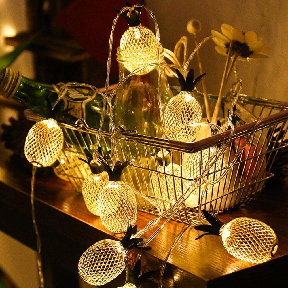 Cordão de luz de led com 1.5m e 3m, usb/alimentado por bateria, para luzes de abacaxi, 10/20 leds, luz quente, guirlanda de natal decoração de festa casamento,