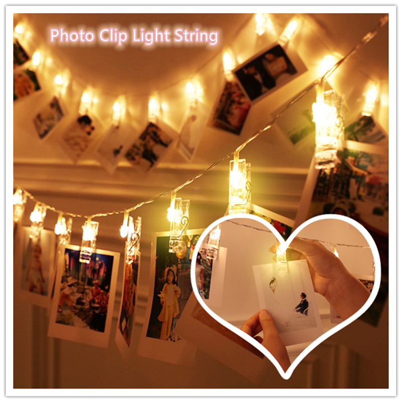 QYJSD 3M/5M Photo Clip Holder LED Lights String Fairy Garland Copper Wire Lights Party Wedding Christmas New Year Decoration