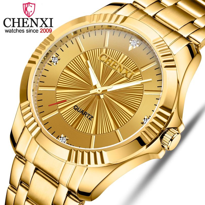 CHENXI Brand Classic Delicate Rhinestone Couple Lover Watches Fashion Luxury Gold Stainless Steel Men&Women Watch Orologi Coppia