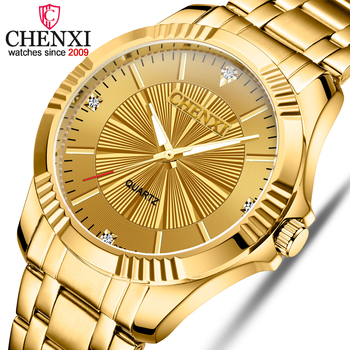 CHENXI Brand Classic Delicate Rhinestone Couple Lover Watches Fashion Luxury Gold Stainless Steel Men&Women Watch Orologi Coppia