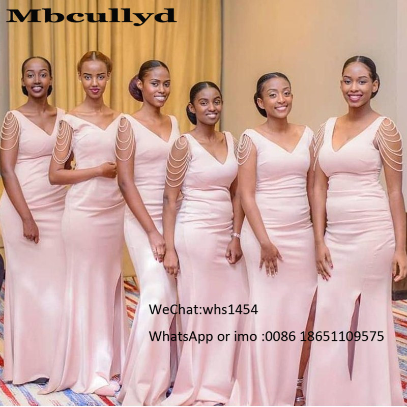 Mbcullyd Pink Mermaid Bridesmaid Dresses Long 2020 With Beading African Wedding Party Dress Sexy Side Split Maid Of Honor Gowns