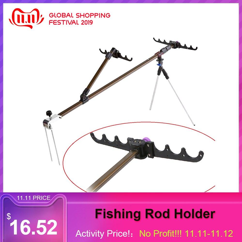 Multi-functional Aluminum Alloy  Fishing Rod HolderAdjustable Retractable Fish Pole Stand Bracket Support Bipod