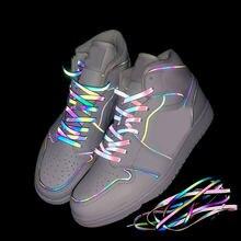 Offre Spéciale lacets réfléchissants holographiques Double face réfléchissant haute luminosité chaussures plates réfléchissantes lacets baskets cordes de chaussures