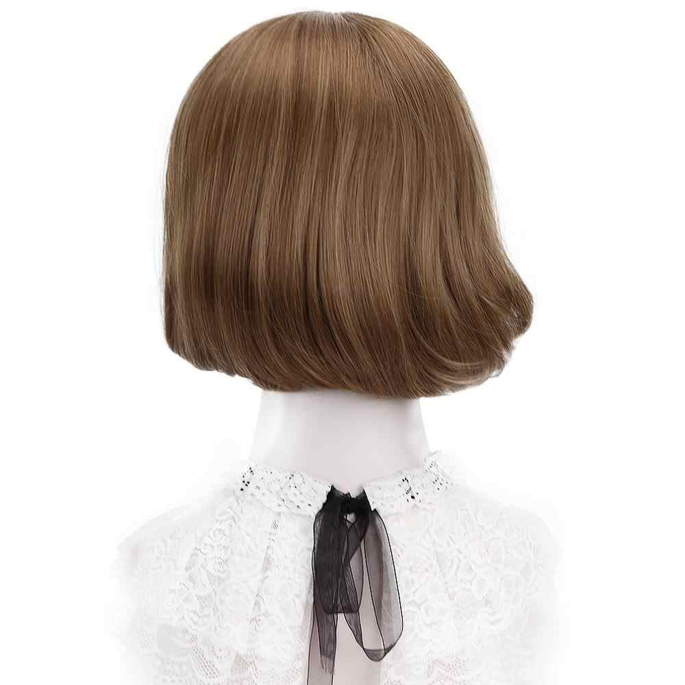 "Free Beauty 12"" Short Wavy Synthetic Chestnut Marron Ginger Brown Dun Hair Bob Wigs with Side Bangs for Women Lolita Cosplay"