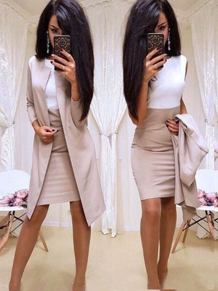 2019 New Suits Office Lady Formal Dress  Business Wear Women Long Blazer Jacket Sheath Dress 2 Piece Women's Sets