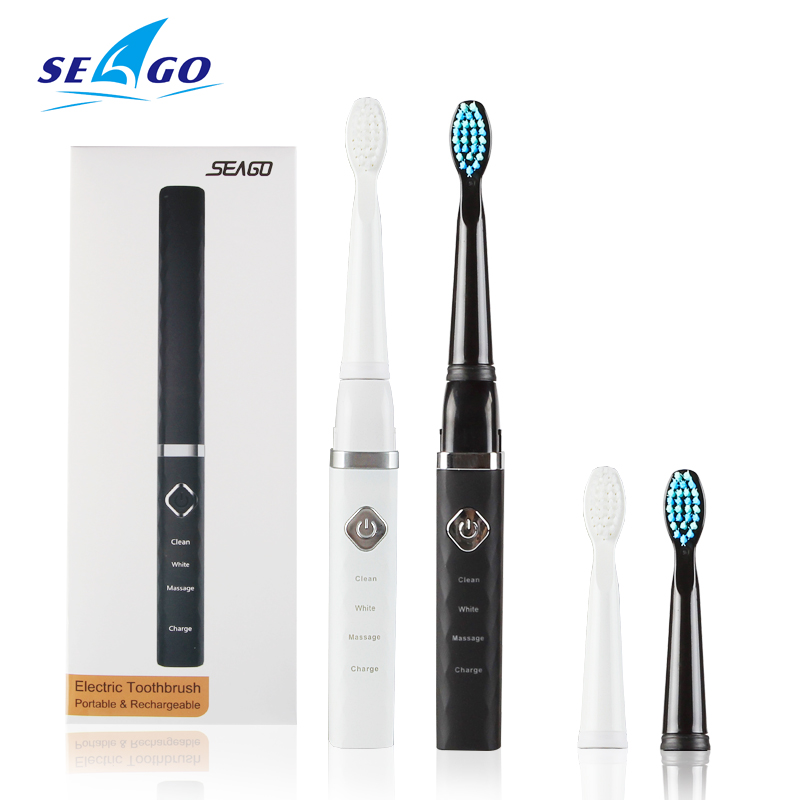SEAGO Electric Toothbrush Upgraded USB Rechargeable Adult Sonic Teeth Brush Waterproof With 3 Brush Head Whitening Healthy Gift