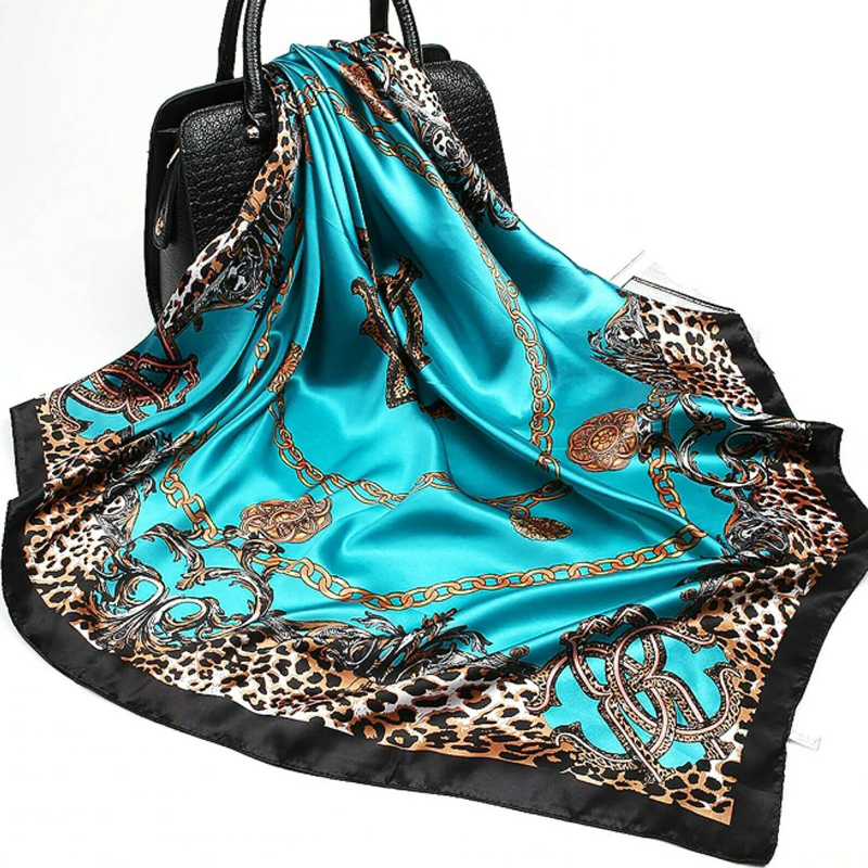 Women Leopard Flower Print Satin Silk Scarf Square Scarves Bandana Neckerchief Floral Shawl Head Hair Wraps Accessories