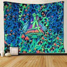 Psychedelic Tapestry Sit-On-The-Mushroom Trippy Wall-Hanging Green Woman Magical Alien