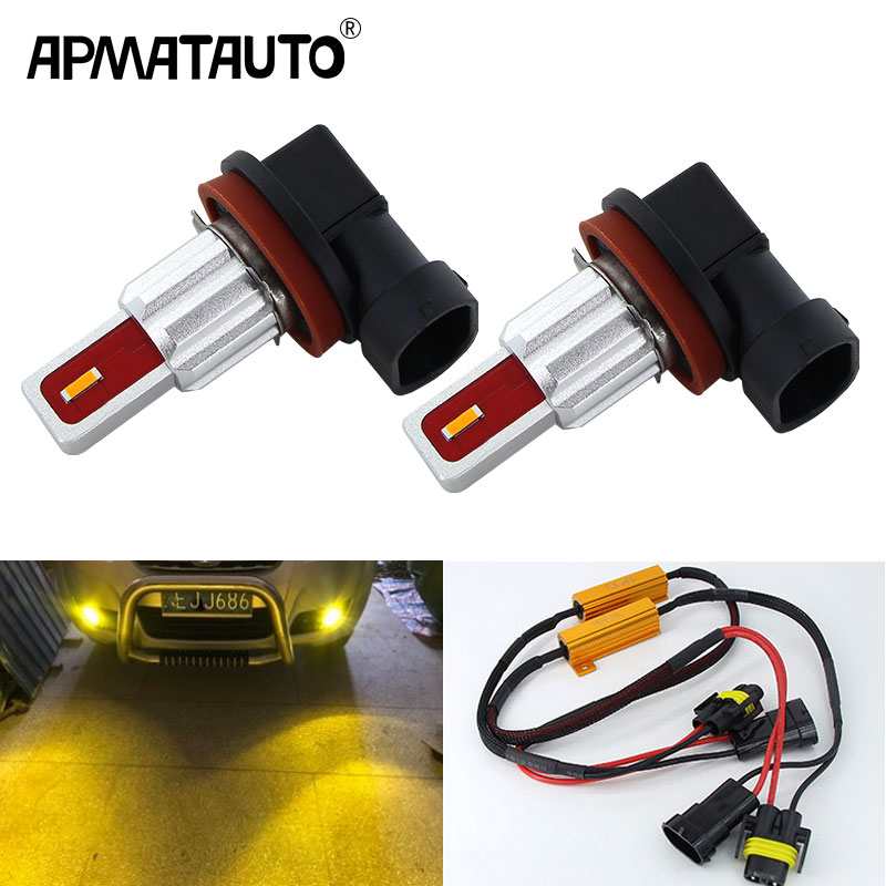 2pcs CANbus H11 H8 LED Car Fog Light Bulbs H9 H16(IP) 9005 9006 <font><b>H7</b></font> <font><b>2000Lm</b></font> 6000K White 3000K Yellow Crystal Blue Auto DRL Foglamp image