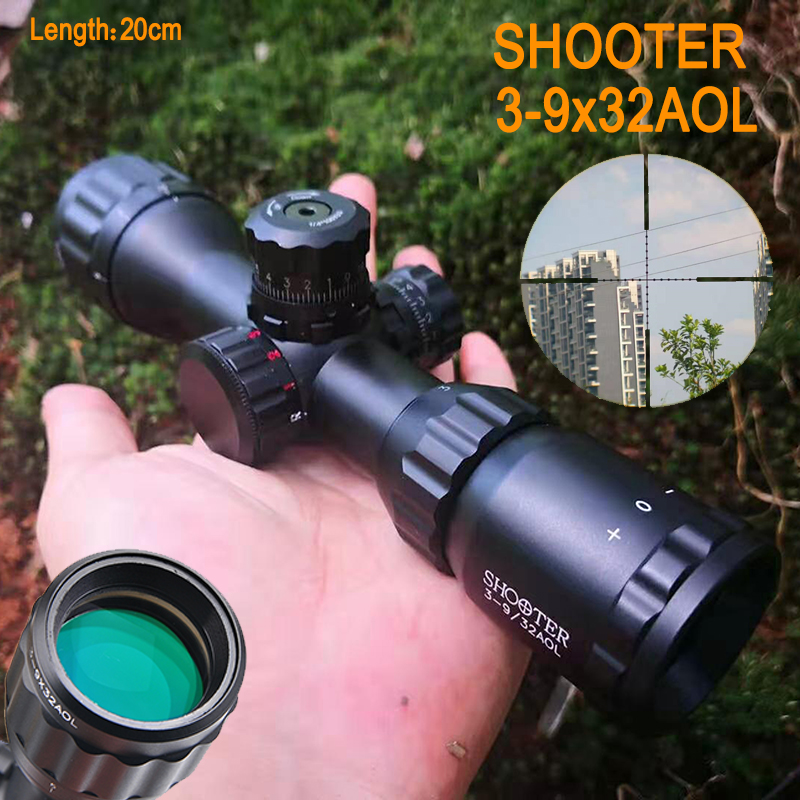 SHOOTER 3-9X32 AOL Short Tactical Riflescope With Blue &Red&Green Lights Mil-dot Optic Sight For Outdoor Activities