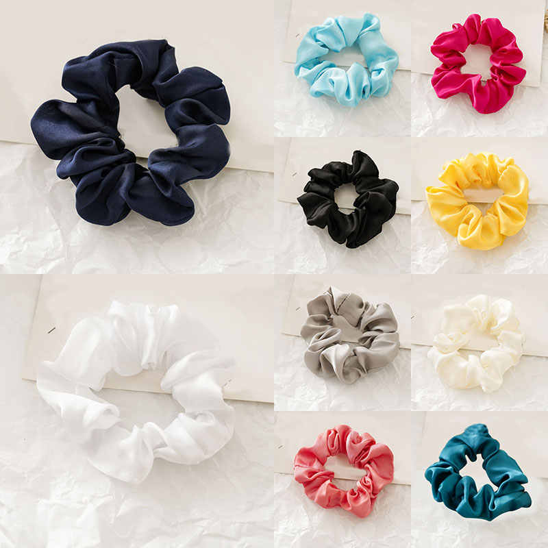 Moda kadın suni ipek düz Scrunchies Lady basit elastik bantlar saten Hairbands kızlar saç kravat saç halat saç aksesuarları