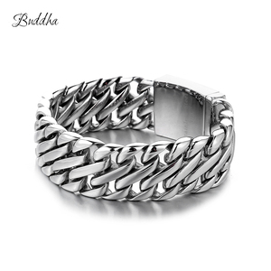 Image 1 - Double Curb Cuban Chain Bracelet Mens 316L Stainless Steel Wristband Bangle Silver color Tone 23mm Buddha Bracelet with Logo