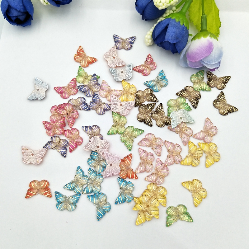 40pcs  Colorful Butterfly Flat Back Rhinestone Cabochon Miniature Applique 1 Hole Christmas Ornament DIY Scrapbook Figurines