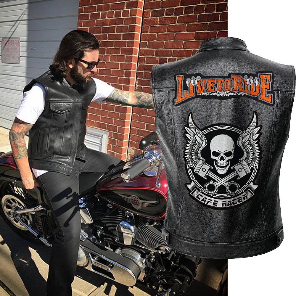 Men Biker Jackets Vest Solid Color Leather Jacket Punk Motorcycle Jacket Embroidery Skull Jacket Short Coats