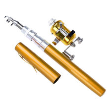 Fluxo ao ar livre portátil bolso telescópico mini vara de pesca pólo forma caneta dobrado rio lago vara de pesca com carretel roda