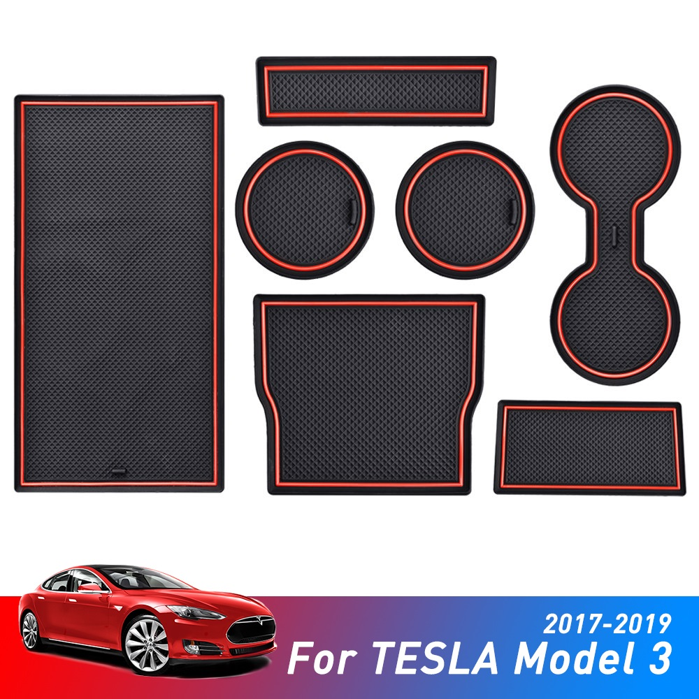 Car Console Wrap Mat Non-Slip For Tesla Model 3 Accessories Gate Slot Center Protective Cup Holder Pad Dirty Proof White Red