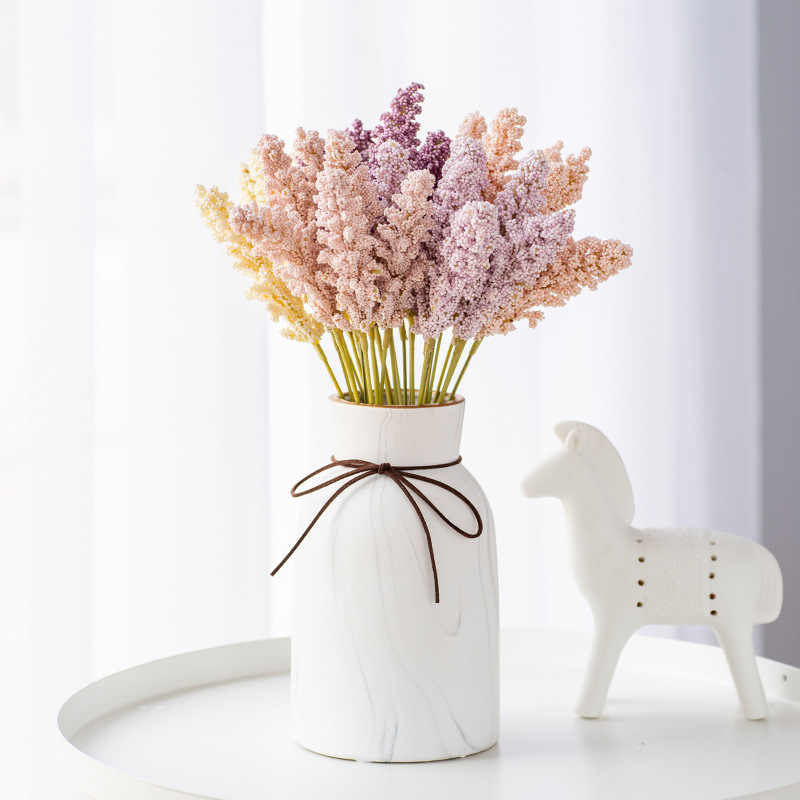 6Pcs/Pack Mini Foam Berry Spike Artificial Flowers Small Bouquet for Home Plant Wall Decoration Fake Flower