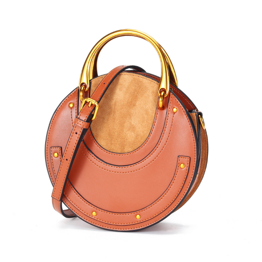 Bolso de cuero genuino para mujer, pequeño bolso redondo, bolso bandolera, bolso elegante para mujer KG280 - 2