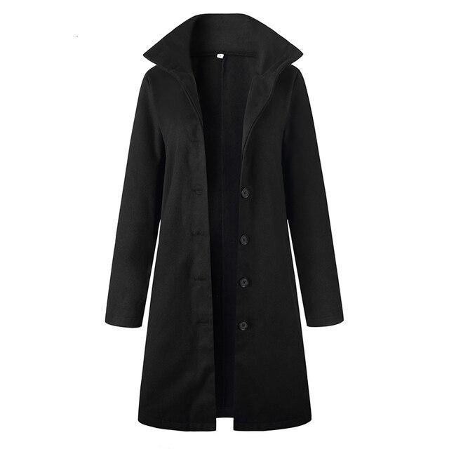 Autumn Jacket Casual Women New Fashion Long Woolen Coat Single Breasted Slim Type Female Winter Wool Coats Outerwear Overcoat 6