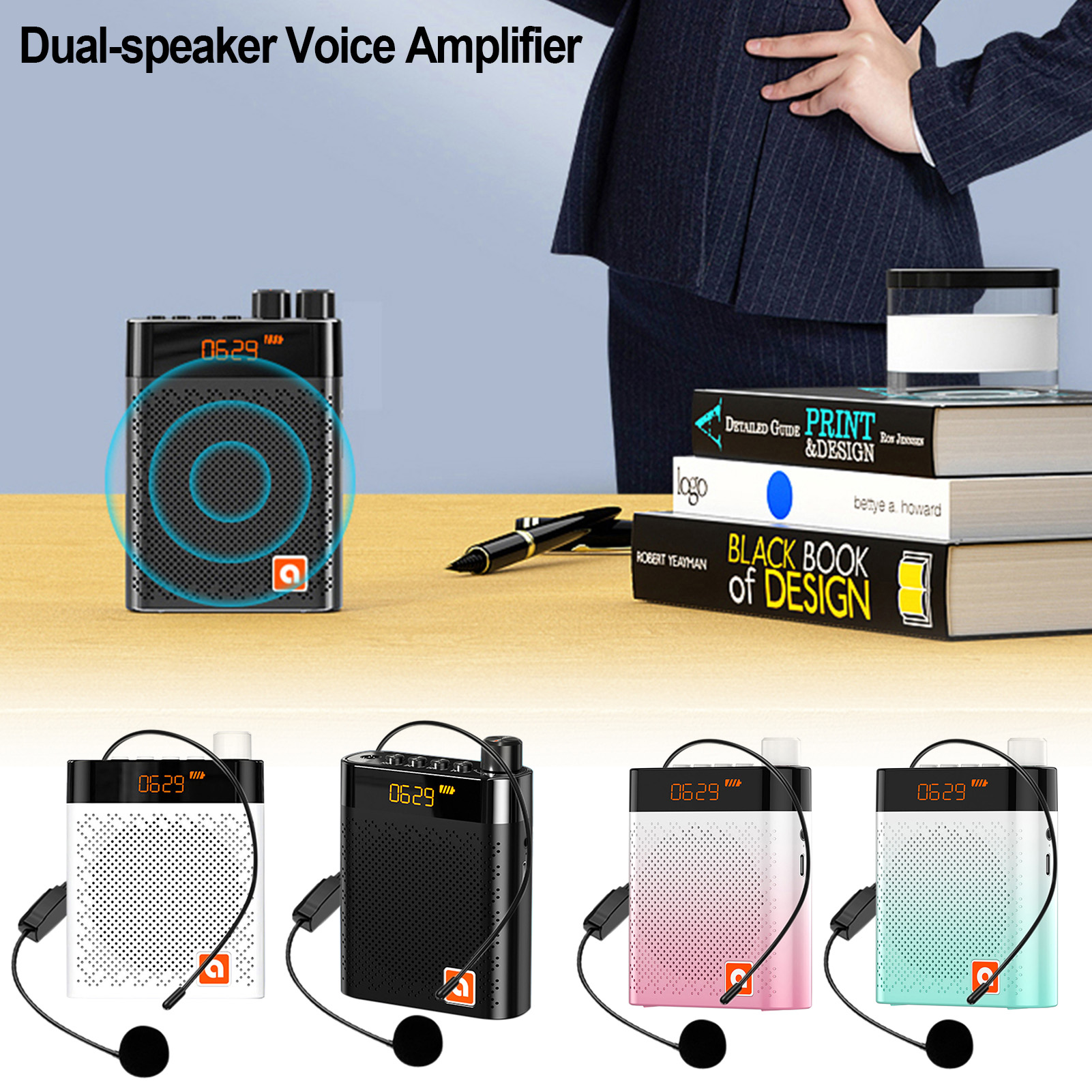Portable Voice Amplifier Wired Microphone FM Radio AUX Audio Recording Bluetooth Speaker For Teachers Instructor Tourrist Yoga