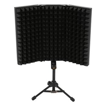 تسجيل ممتص الصوت ميكروفون عزل درع مضاد للضوضاء 3 أضعاف تصميم لوح إسفنجي عالي الكثافة ، لمعدات التسجيل S