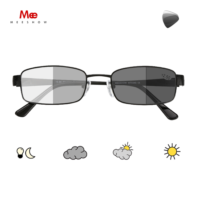 Meeshow fotokromik okuma gözlüğü anti UV400 erkekler paslanmaz çelik gözlükleri diyoptri okuma gözlüğü + 1.5 + 2.5 WT0340